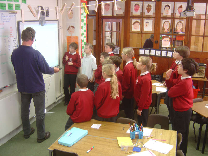 Recording school children for Jurassic FM, an oral history project for Bridport Museum.